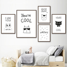Cartoon Black White Cat Quote Wall Art Canvas Posters And Prints Canvas Painting Nordic Minimalism Wall Pictures Kids Room Decor black white cartoon planet quote wall art print canvas painting nordic canvas poster and prints wall pictures kids room decor