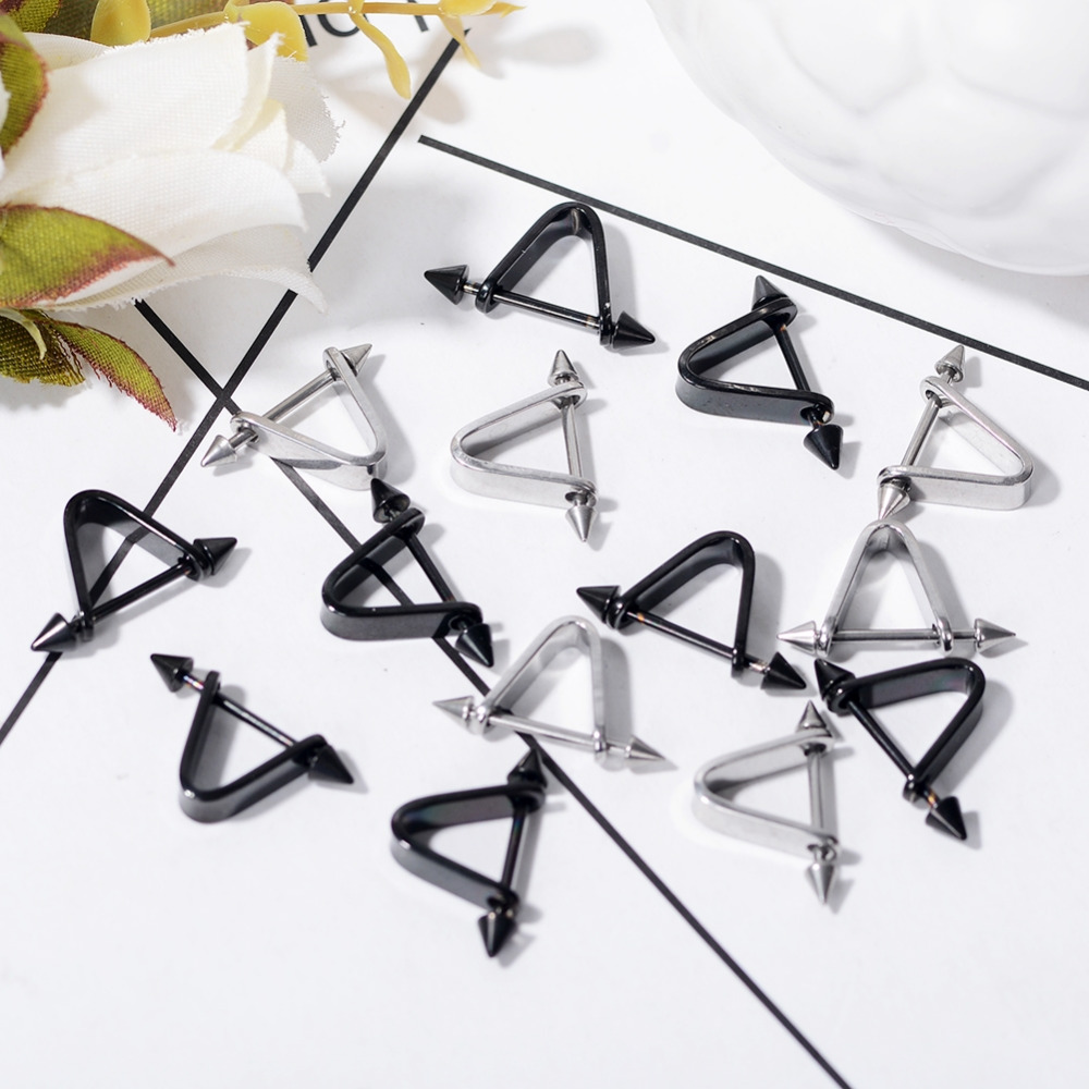 1pc Hipsters Triangle Piercing Earrings Prevent allergy Stainless steel