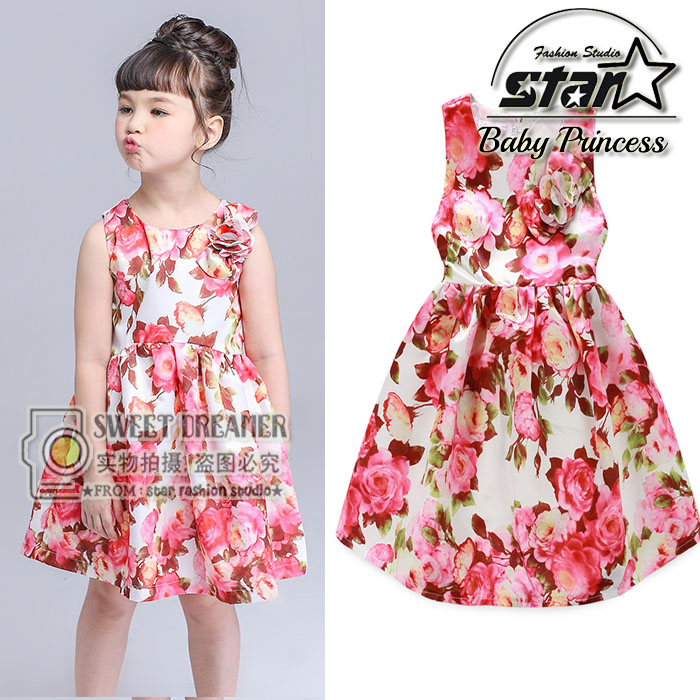 New Brand 2016 Girls Dress Summer Floral Cotton Sleeveless Kids Flower Print Sundress Party Birthday Lovely Girls Clothes