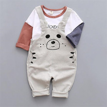 European and American style 2016 baby boy clothing sets fashion t-shirt and suspenders pants for spring and autumn