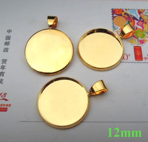 Пустая основа для подвесок изогнутый круглый ободок с Бейл разъем установки материалы для рукоделия DIY с золотистым покрытием Латунь - Цвет: 12mm inner bezel siz