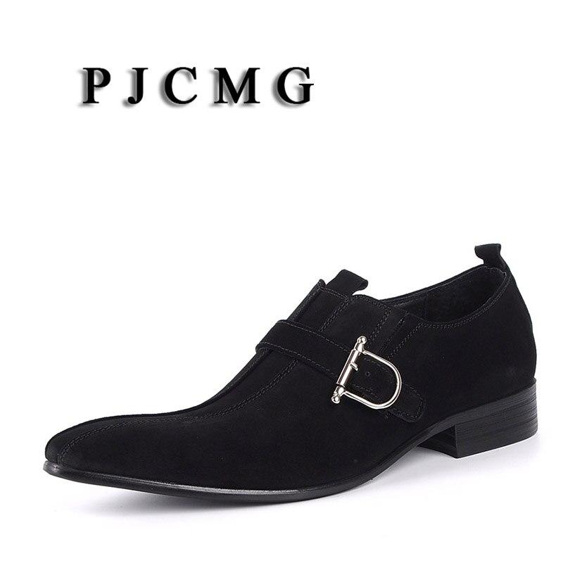 PJCMG/Модная Мужская обувь; замшевая обувь из натуральной кожи с пряжкой на ремешке с острым носком; цвет черный, Brwon; мужская повседневная Свадебная деловая обувь