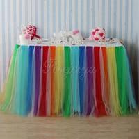 -Пачка цветов радуги для Стиль с вуалью и балетной пачкой Юбка для стола 100 см x 80 см для Свадебная вечеринка Baby Shower украшение домашний тексти...
