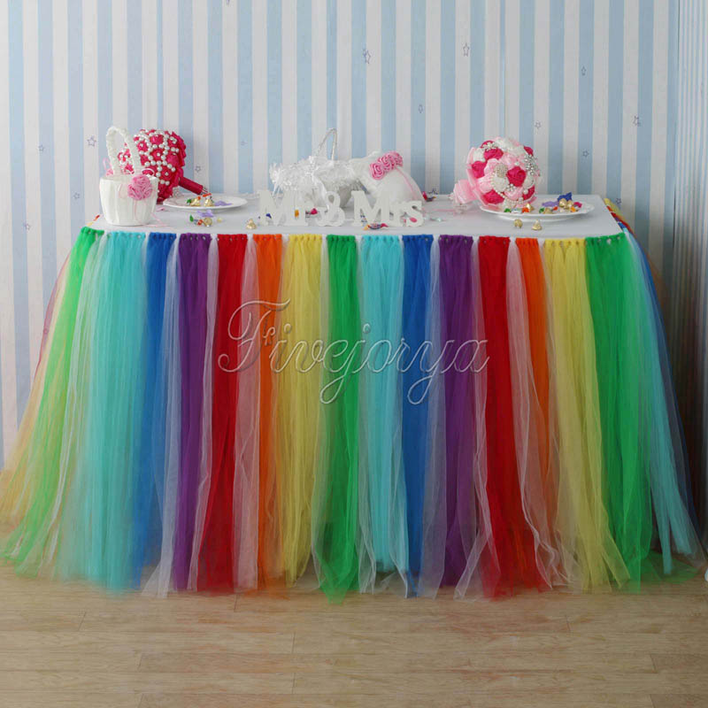 Colorful Rainbow Style Tulle Tutu Table Skirt 100cm x 80cm for Wedding Favors Party Baby Shower