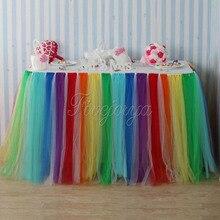 Красочные Радуга Стиль Тюль Туту Таблица юбка 100 см x 80 см для свадебной вечеринки Baby Shower украшения дома Текстиль