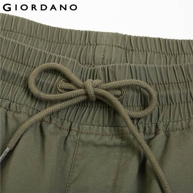 Giordano Men Pants Elastic Waistband Casual Pants Men Solid Twill Joggers Banded Cuffs Mens Trousers Pantalones Hombre 48