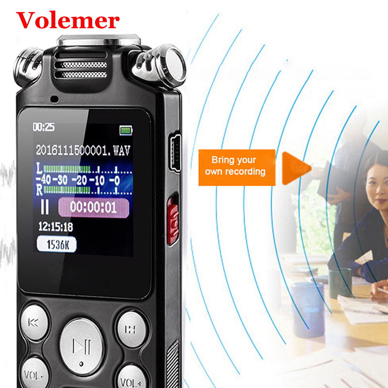 Volemer V59 Mini Voice Recorder Fast Charging Two-Way Microphone Sound Recording Digital Audio Voice Recorder Mp3 Music Player