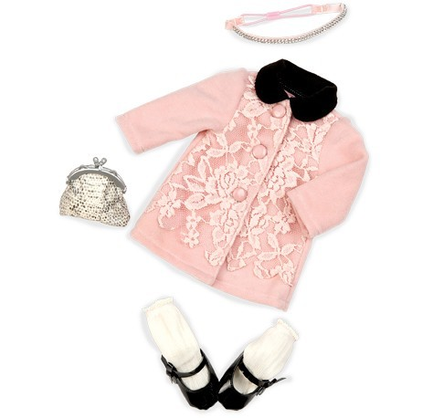 Free Shipping Doll accessories, Pink lace overcoat Wear fit for Americal Girls Bag 18 inch doll Baby Born zapf