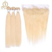 Бразильский Пряди человеческих волос для наращивания 613 блондинка Цвет 3 Связки с 13*4 закрытие кружева фронтальной не Волосы remy предваритель