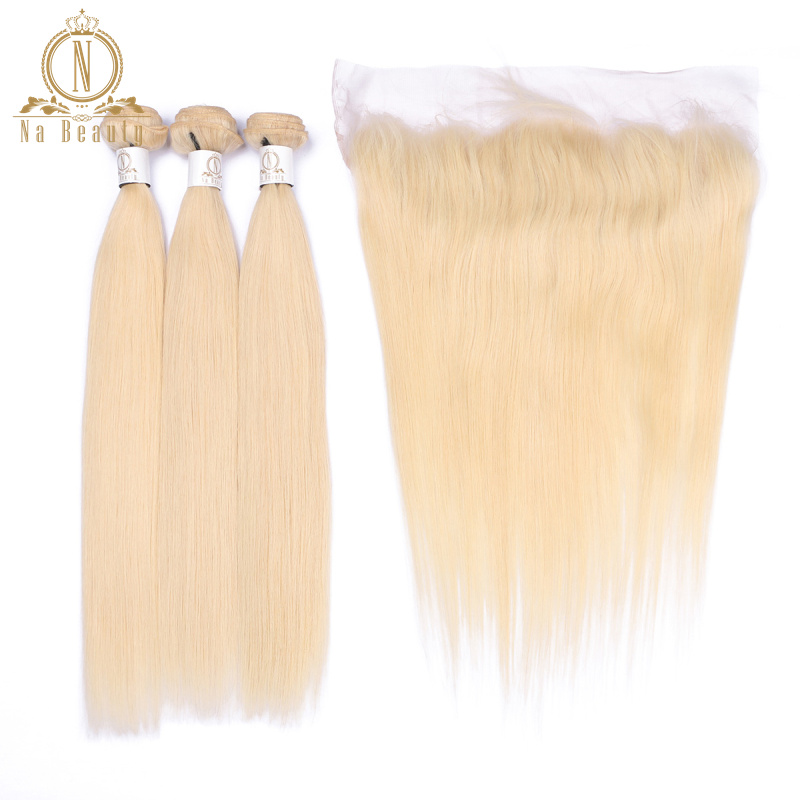 Brazilian Human Hair Extensions 613 Blonde Color 3 Bundles With 13*4 Closure Lace Frontal Non Remy Hair Pre Plucked Na Beauty