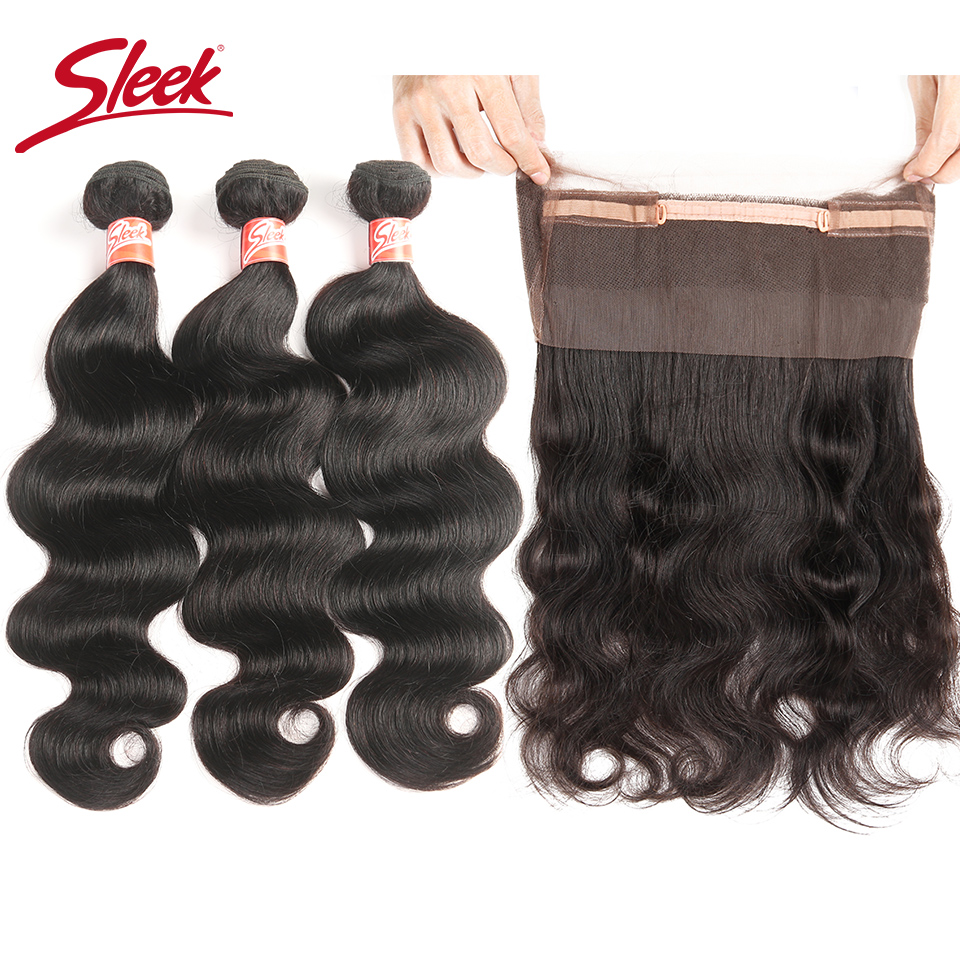 Sleek Hair Indian Body Wave Hair 3 Bundles With 360 Lace Frontal Closure Non Remy Human Hair Wave Natural Black Free Shipping