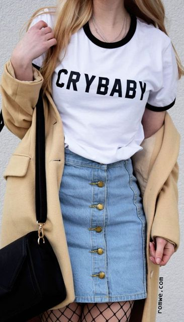 crybaby cute funny ringer tees letter print t shirt fashion clothes