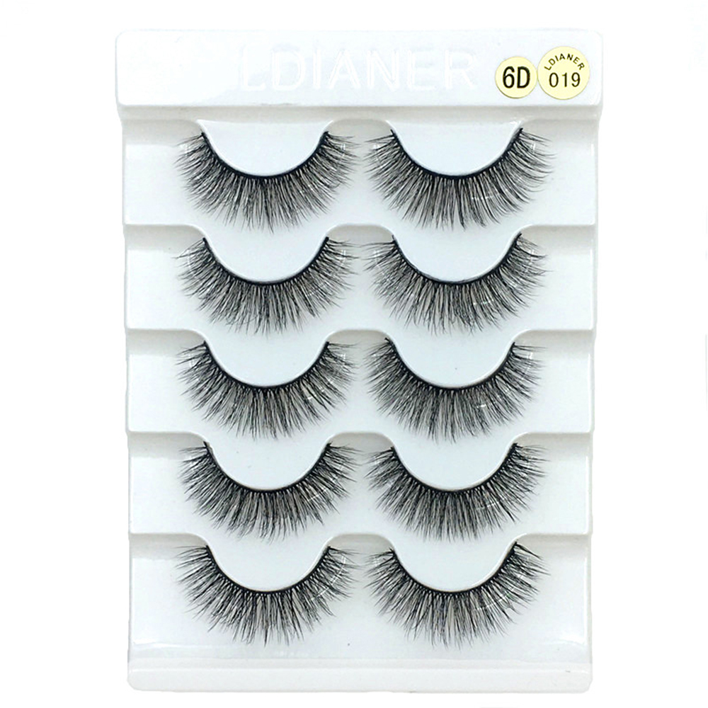 5 Pairs 6D Faux Mink Hair False Eyelashes Natural Long Wispies Lashes Handmade Cruelty-free Criss-cross Eyelashes Makeup Tools