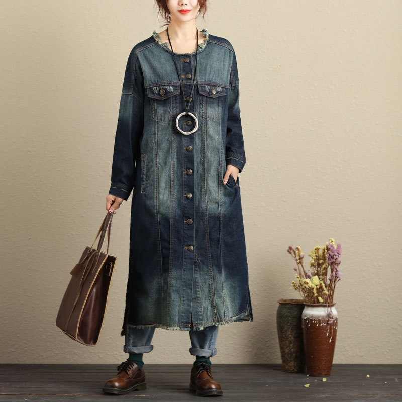 Jean   jacket   2018 women female long Japanese style autumn   basic     jackets   coat fashion blue ladies women denim   jacket   DD1518 S
