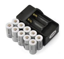 10 ШТ. 3.7 В 2200 мАч 16340 CR123A Литий-Ионная Аккумуляторная Батарея + 1 ШТ. 2-слот Зарядное Зарядное Устройство для Фонарик литиевая Батарея