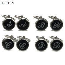 hot deal buy lepton black round letters cufflinks for mens 3 pairs/lot silver color letter cuff links men shirt cuff cufflink relojes gemelos
