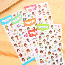 5Pcs Daily Life Cute Girl Kawaii Stickers Hand made Stationery Store Kids Scrapbooking Diary DIY Post it Notebook Photo Planner