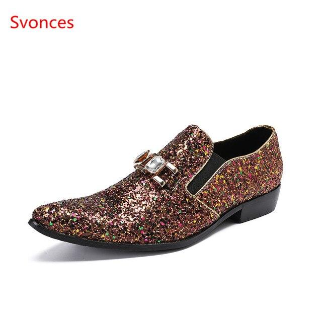 f4843ccec Homens Sapatos Casuais Sapatos de Pano de lantejoulas Que Bling Shinny  Glitter Cristal Homens Apartamentos Colorido