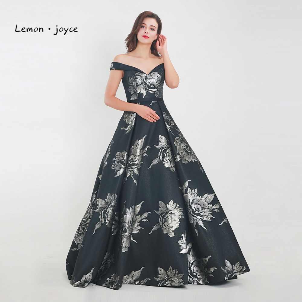 59fba99bc9b8b42 ... Лимон joyce цветочный принт платье для выпускного вечера 2019 Милая с открытыми  плечами цветочный узор Пол ...