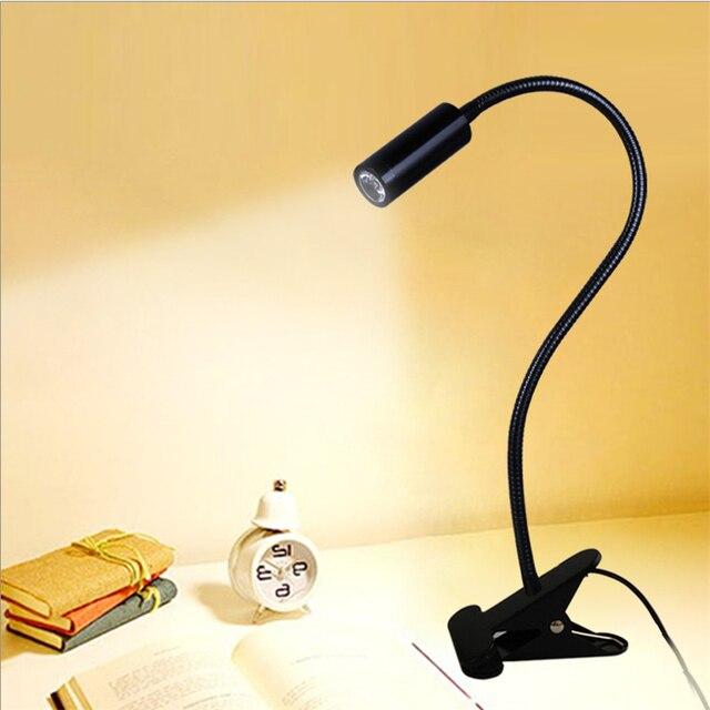 Freies verschiffen FÜHRTE schreibtisch lampe, clamp lesen lampe, 30/40/50 cm 3 watt Flexible led tisch licht, hohe helligkeit clip spot lampe TD 005