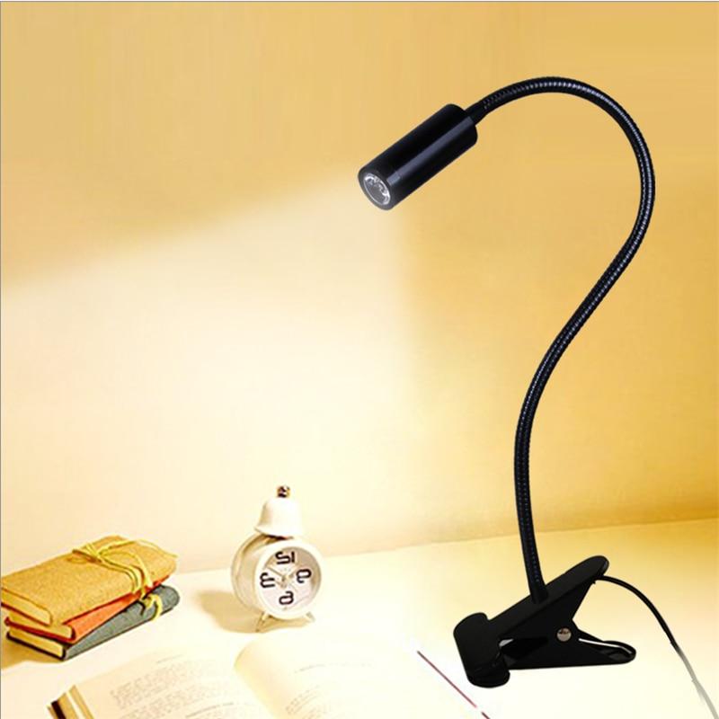 Livraison gratuite LED lampe de bureau, pince lampe de lecture, 30/40/50 cm 3 w Flexible led table lumineuse, haute luminosité clip spot lampe TD-005