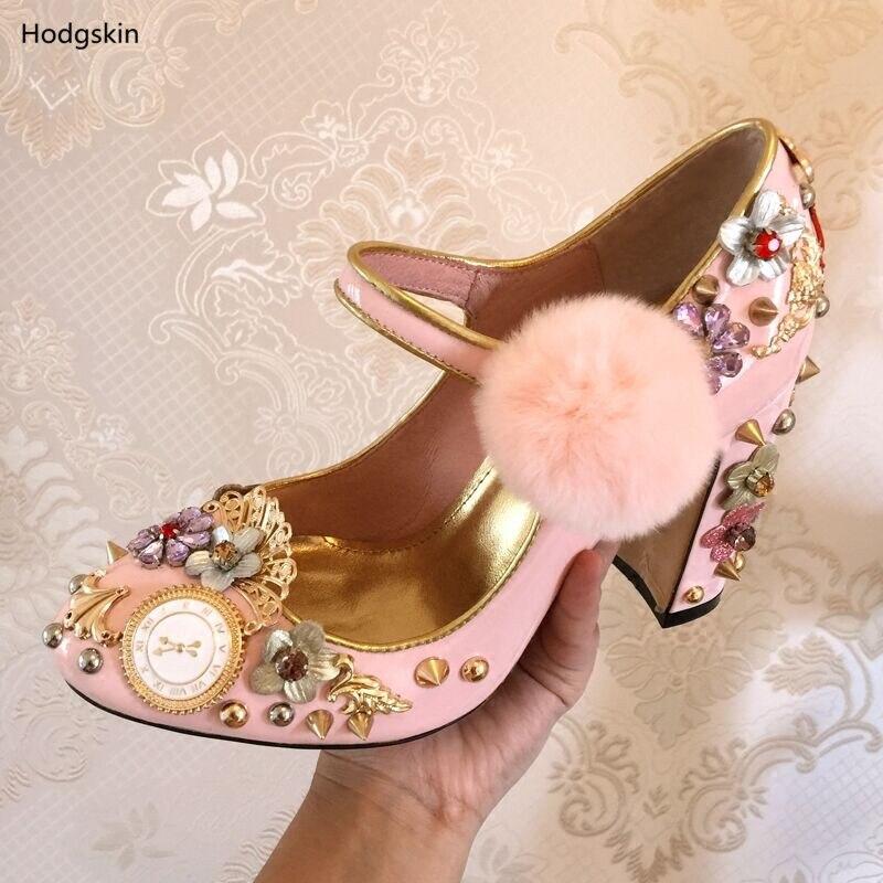 Cristal Femmes As Horloge Noce Taille Rose Pompes Grande À Sapato Fourrure Chaussures De Réduits Avec Prix Show Femme Rivets Feminino BttFIwq
