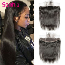 13×4 Pre Plucked Lace Frontal Closure Bleached Knots Brazilian Virgin Hair Straight Human Hair Lace Frontal with Baby Hair