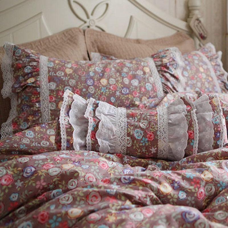Fashion Vintage Dobby Bedding Set Pastoral Ruffle Duvet