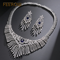 FEEROW Delicate Imitation Sapphire Tassel Jewelry Set Cubic Zirconia Inlay Gorgeous Jewelry Set For Women Engagement FWSP298