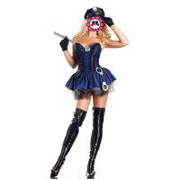Abbille New Halloween Party Cosplay Costume Women Sexy Police Uniform Dress Strapless Cosplay Clothing With Hat And Handcuffs