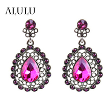 Fashion Retro Style Palace Green Crystal Water Drop Earrings Exaggerated Female Long Section Of Large Earrings For Women brincos