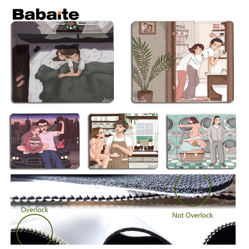 Babaite Beautiful Anime Couple life hand drawing Silicone Pad to Mouse Game Size for 180x220x2mm and 250x290x2mm Mouse Pad