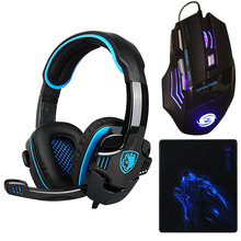 3pcs/combo USB Wired 3200DPI Gaming PC Computer Mouse Mice LED backlight+Gamer Headset Headphone earphone+Mouse pad for LOL dota