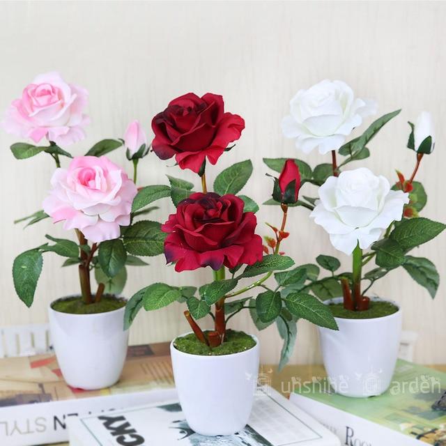 Pot Soie Rose Avec Vase De Haute Qualite Fleur Artificielle Faux