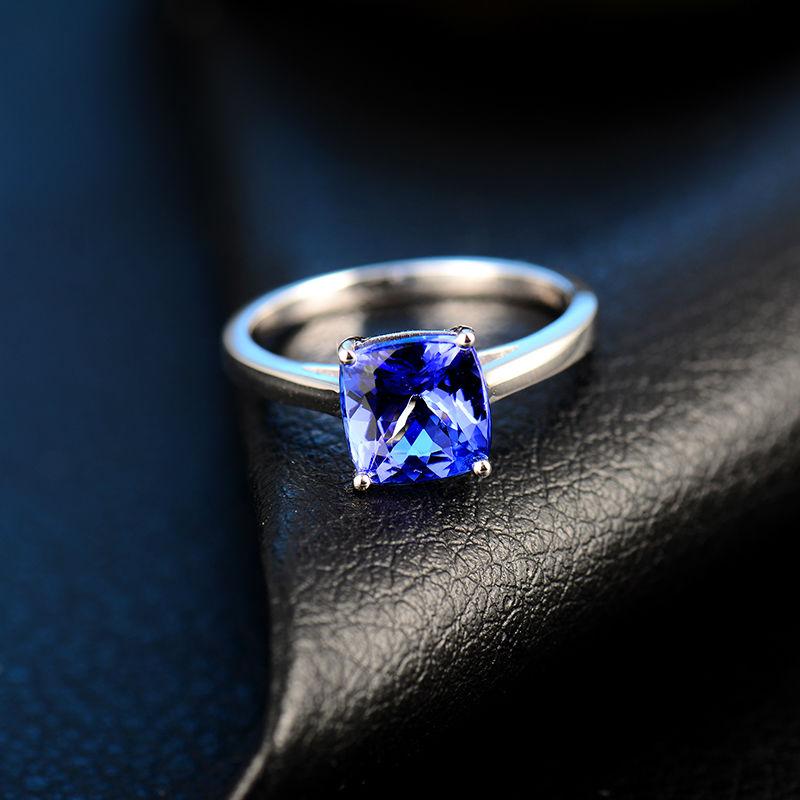 솔리드 18kt 화이트 골드 반지 자연 블루 tanzanite 약혼 반지 디자인 쿠션 컷 보석 쥬얼리 기념일 간단한 디자인-에서반지부터 쥬얼리 및 액세서리 의  그룹 3