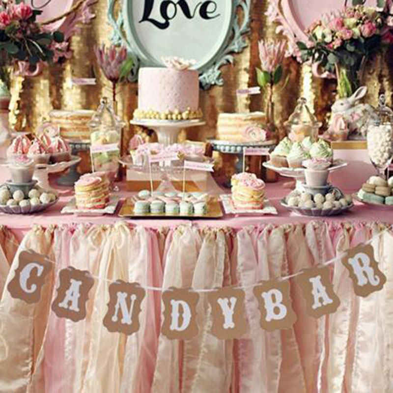 Candy Bar For Wedding Ideas: Hot Sale Candy Bar Kraft Paper Cardboard Bunting Banner
