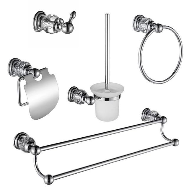 Premium Luxury Wall Mount Bathroom Hardware Accessories Set Robe Hook Paper Holder Toilet Brusher Towel