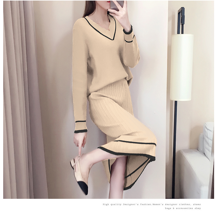 Autumn Winter Knitted Two Piece Sets Outfits Women V-neck Sweater And Skirt Suits Tracksuits Elegant Casual Fashion 2 Piece Sets 78