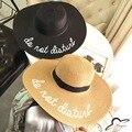 Соломы Большой Брим Письмо Вышивки Шляпы Евгения Ким Шляпу Девушка Солнечный Не Беспокоить Дамы Соломы Boho Cap
