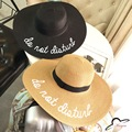 Straw Large Brim Letter Sequin Embroidery Hats Eugenia Kim Floppy Hat Girl Sunny Do Not Disturb Ladies Straw Boho Cap