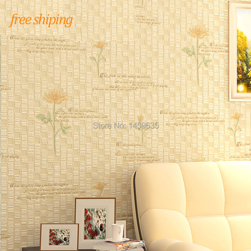 Eco-friendly t non-woven wallpaper rustic wallpaper fresh three-dimensional small flower sofa