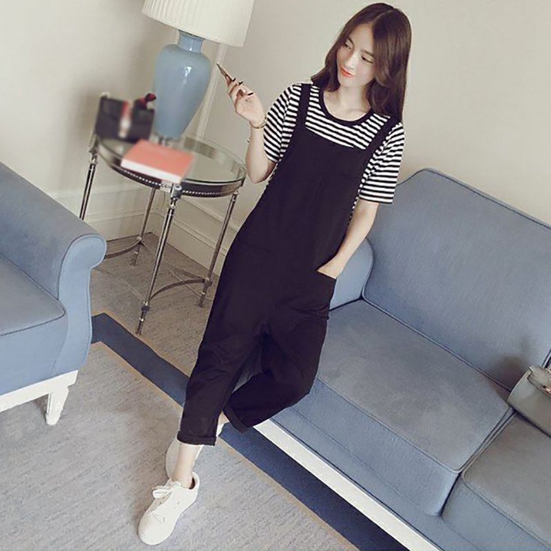 2019 New Women's Long Sleeve Striped Knitted Shirt + Casual Jumpsuit Two Piece Lady Girls Fashion Pants Suits