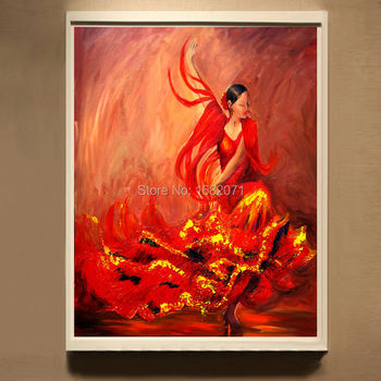 Top Artist Pure Hand-painted High Quality Modern Abstract Spain Flamenco Oil Painting For Wall Decorative Flamenco Painting