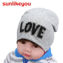 Sunlikeyou Newborn Infant Cap Cotton LOVE Rhinestone Girls Summer Double Breathable Beanie Bonnet Kids Boy Toddler Baby Hats