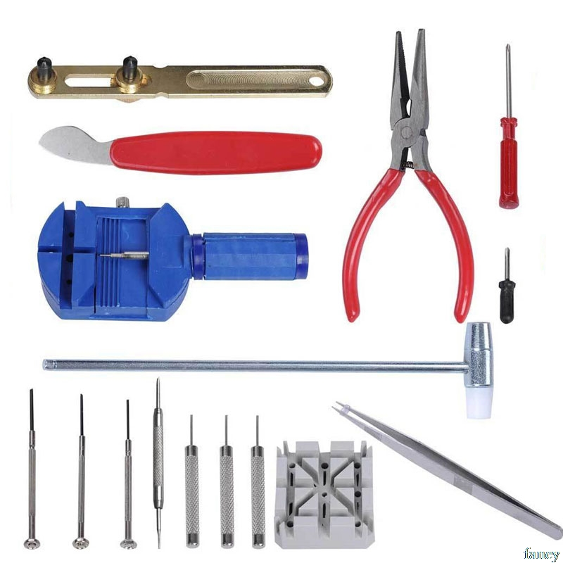16 Pc Case Opener Common Use Generic Watch Repair Tools Kit Removes Battery Bands Links Screwdrivers