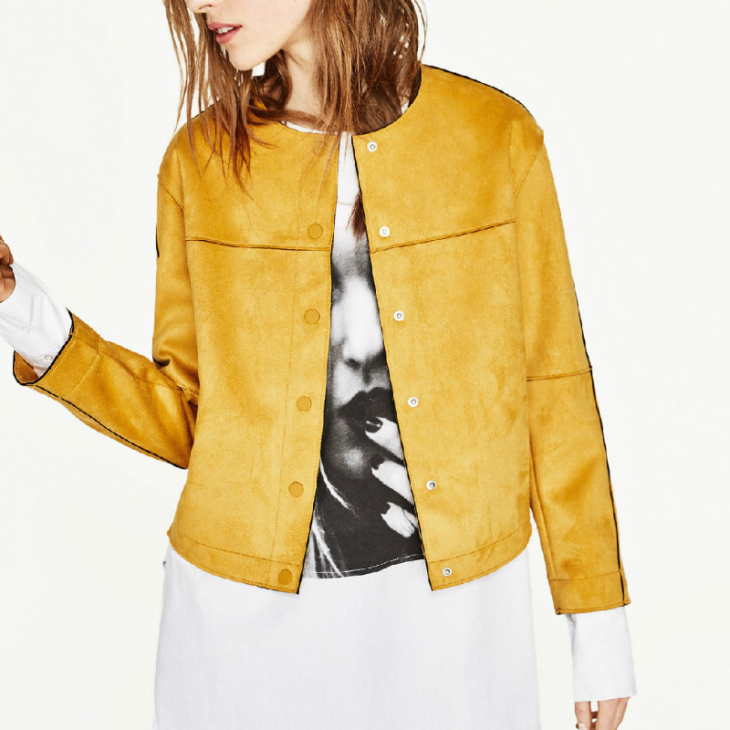 lwela elegante abrigo de ante de las mujeres de manga larga o cuello de la chaqueta amarilla tops escudo seoras de la manera