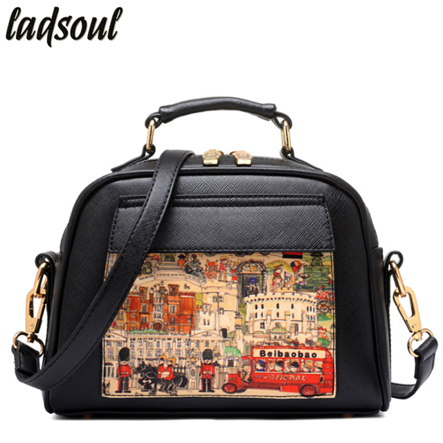 LADSOUL Women Leather Handbags Luxury Oil Picture Pattern Designer Luxury Shoulder Bags For Women Female Messenger Bags LS8235/g