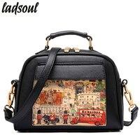 Ladsoul 2016 Women Bags Vintage Print Women PU Leather Handbags Women Shoulder Bag Ladies Casual Women
