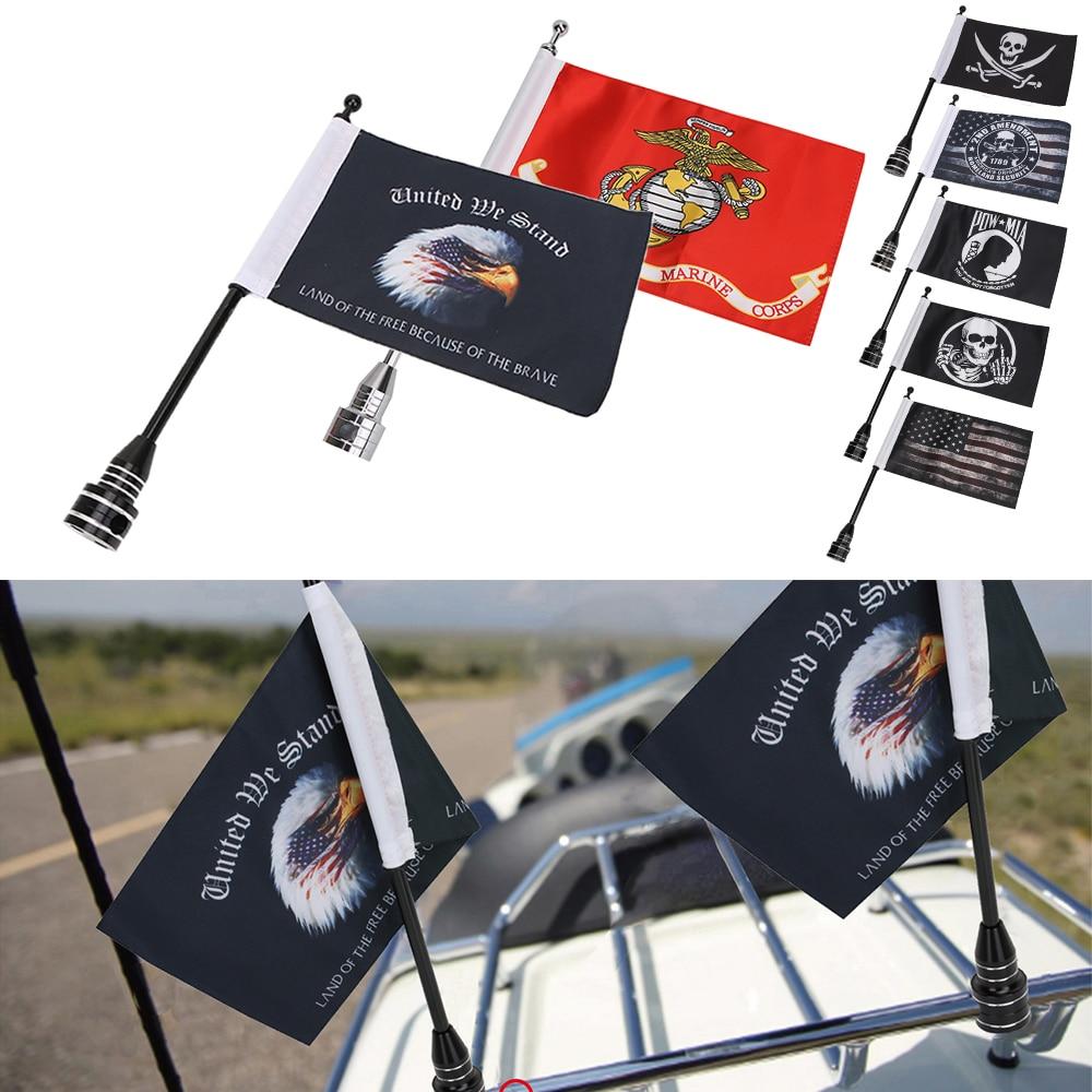 Rear Tail Luggage Rack Bracket Mount Metal  Black Pole USA Flag For Harley Dyna
