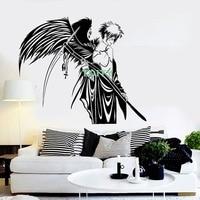 Wall Stickers Vinyl Decal Angel of Death Warrior Wings Anime Manga Home Kids Bedroom Door Window Decor H57cm x W66cm